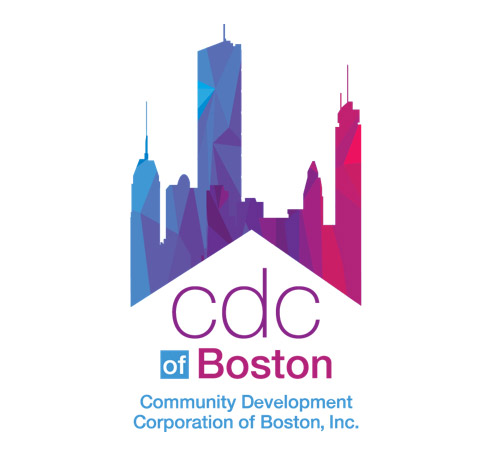blue and pink skyline with CDC of Boston logo
