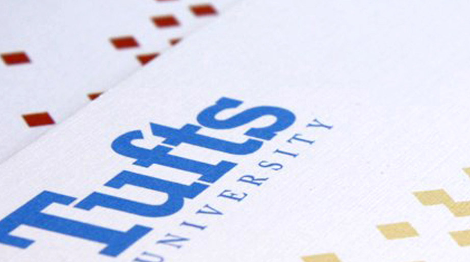 Tufts University blue text