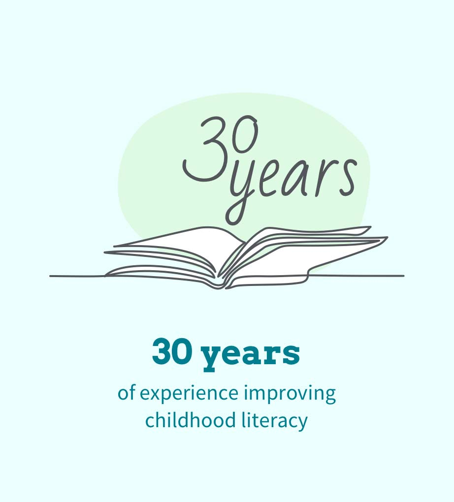 illustrated book with text 30 years of experience improving childhood literacy