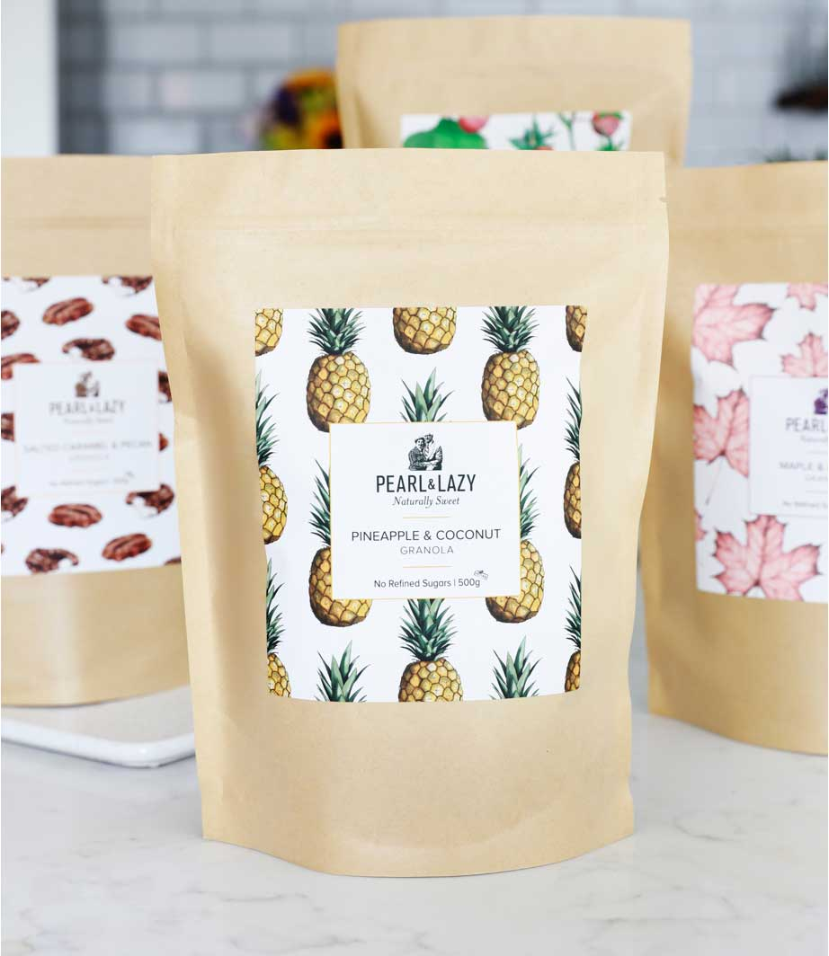 four granola bags with custom labels